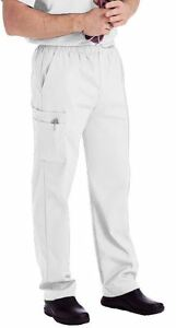 NEW Landau 8555 Men's Drawstring Elastic Waist CARGO Pocket Scrub Pants SM-5XL