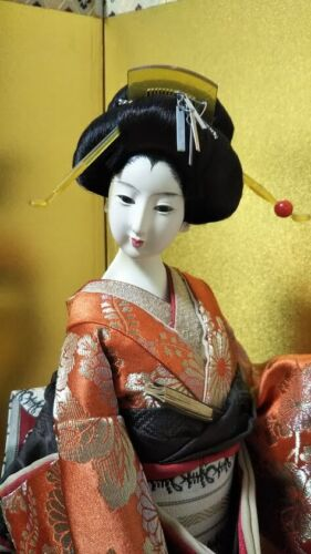 "Vintage Japanese Geisha doll in Kimono on wooden base 17"" 45cm Antique Orange"