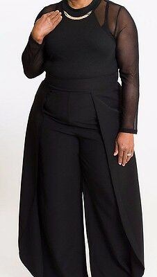 Plus Size Black Tulip Side Panel Wide Leg Dress Pants Stretch Waist ()
