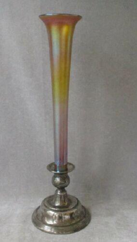 "Antique Iridescent L.C. Tiffany Trumpet Vase Favrile Glass 12"" Signed"