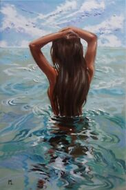 Blue Sky Ocean Monika Luniak Original Oil Painting on Canvas