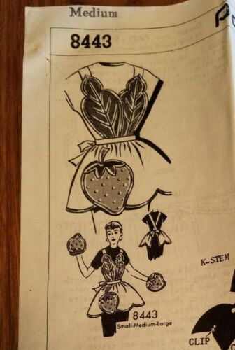 Vintage Original Kitchen Strawberry Apron Sewing Pattern - From 1956
