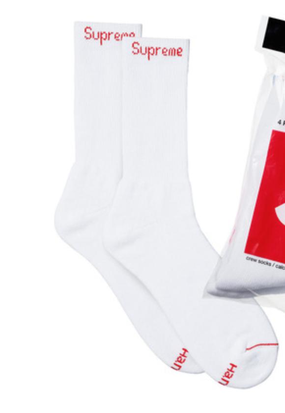 1x Supreme Hanes Crew Socks Socken Strümpfe white weiß one size NEU x