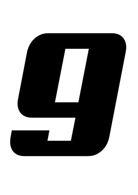 RACE NUMBER 9  Pack of Three Stickers Decal Road Racing Karting MX