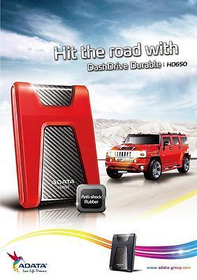 """ADATA HD650 1 TB USB 3.0 Anti Shock Proof 2.5"""" External Portable Hard Drive 1TB"""