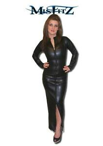 Misfitz black  leather look full length hobble zip mistress dress size 18 (eu46)