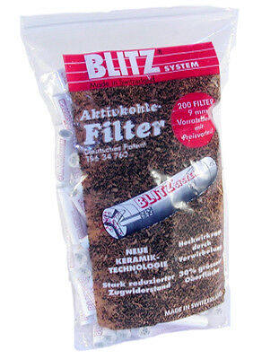Blitz Pfeifenfilter Aktivkohlefilter 9 mm 200 Stk. beideitiger Keramikdeckel