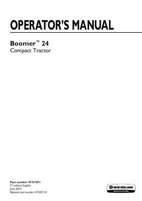 New Holland Boomer 24 Compact Tractor Operators Manual