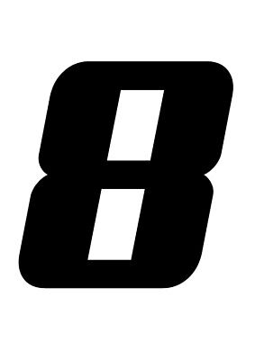 RACE NUMBER 8  Pack of Three Stickers Decal Road Racing Karting MX