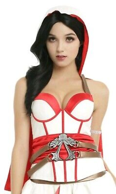 New Womens Assassin's Creed Bustier Small Red White With Hooded Cape, - Sexy Assassins Creed Kostüm