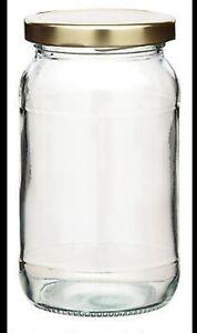 10 Round 1lb / 454ml Glass Preserve Jam Jars & Lid