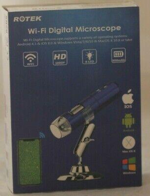 Rotek Digital Microscope Android Iphone Windows Mac 1920x1080p Blue 1000x