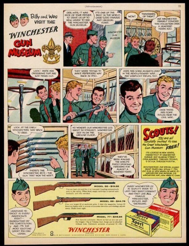 1960 Winchester model 55 69 77 rifle Gun Museum Boy Scouts art vintage print ad