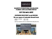 8 days left, HARVEYS Furniture Fabric and Leather Sofas, 80% OFF 24-48hr delivery