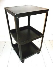 HABITAT VINTAGE METAL TROLLEY, MATT BLACK WITH CASTORS