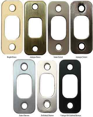 "Deadbolt Strike Plate Door Backplate 1 1/8"" x 2 3/4"" Round Corner 7 finishes"