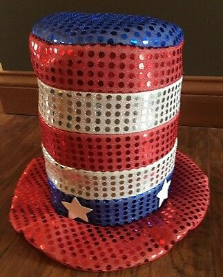 Uncle Sam Sequin Patriotic Usa 4Th Fourth Of July Red White Blue Costume Top (Blue Sequin Top Hat)