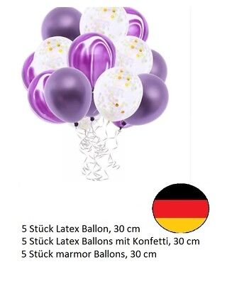 Lila Silber Marmor Latex Ballon Set Helium Hochzeit Geburtstag Party Konfetti  ()