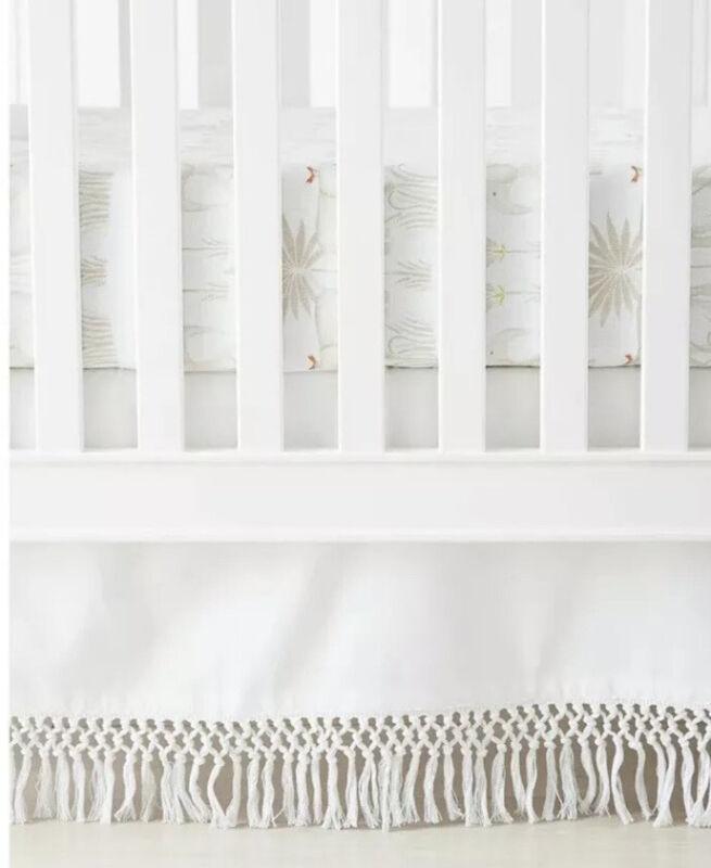 NWT $88   Serena & Lily Macrame Crib Skirt   White