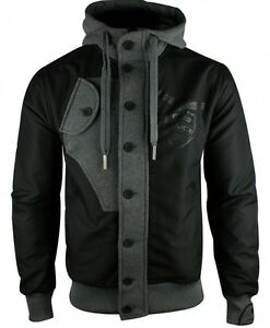 new police 883 suzuki jacket hoody in black