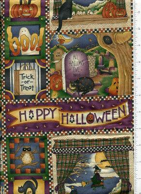 debbie mumm ~ HAPPY HALLOWEEN ~ fabric witch bat owl cat moon trick or treat bty (Debbie Mumm Halloween)