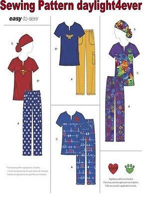 Women Easy Sew Scrubs Top Pants Ponytail Hat Sewing Pattern 8266 New XXS-M #r