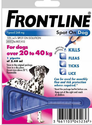 FRONTLINE SPOT ON FLEA TREATMENT LARGE DOGS 20-40KG 1 TREATMENT, FREE POST,,