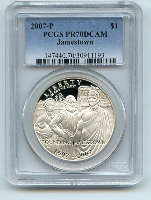 2007 P $1 Jamestown Silver Commemorative Dollar PCGS PR70DCAM