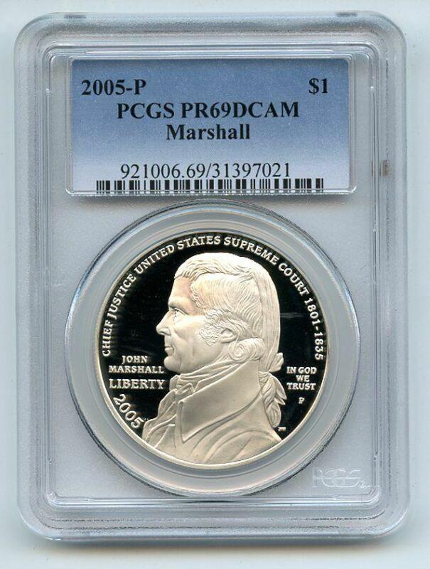 2005 P $1 Chief Justice Marshall Silver Commemorative Dollar PCGS PR69DCAM