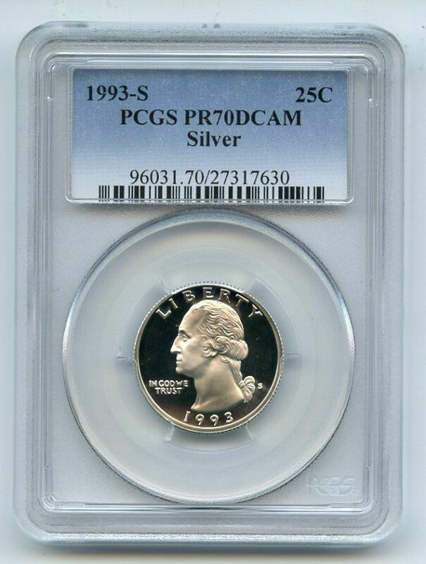 1993 S 25C Silver Washington Quarter Proof PCGS PR70DCAM