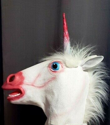 Creepy Unicorn Mask Rubber Horse Head Bloody Halloween Costume Scary (Bloody Unicorns)