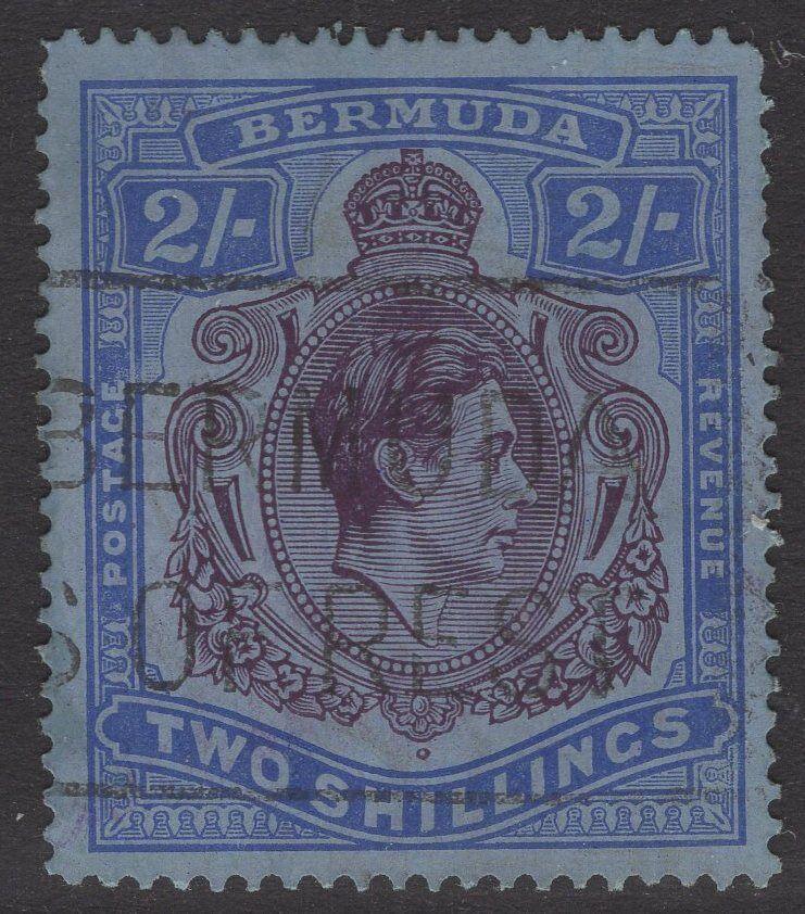 BERMUDA SG116b 1941 2/- DEEP PURPLE & ULTRAMARINE/GREY-BLUE p14¼ LINE USED