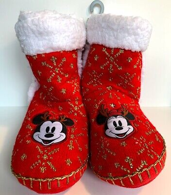Disney Store Christmas Mickey & Minnie Mouse Plush Boot Adult Slippers Gift New ()