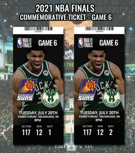 2021 NBA Finals - Commemorative Ticket - Milwaukee Bucks - Phoenix Suns