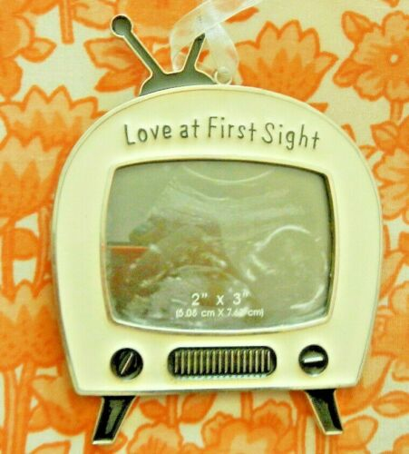 """Love At First Sight Ornament Photo Frame Sonogram Baby Picture TV 4""""X4.5"""" NWOT"""
