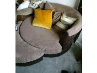 DFS brown swivel chair and footstool