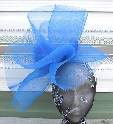 blue feather fascinator millinery burlesque headband wedding hat hair piece 1