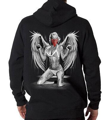 Marilyn Monroe Gangster Sexy Tattoo 2 Guns Angel Wings Hooded Sweatshirt Hoodie Angel Wings Hooded Sweatshirt