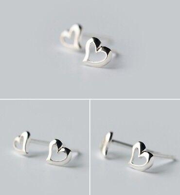 Classic Women Girl 925 Sterling Silver 5mm Heart Stud Earrings gift Box -