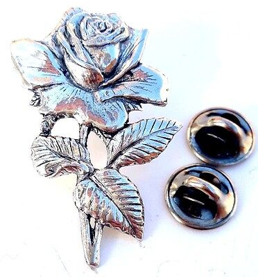 English Rose Handcrafted in Solid Pewter In UK Lapel Pin Badge
