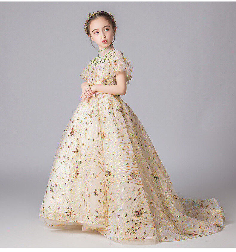 Childrens Girls Elegant Vintage Pageant Gold Glitter Princess Dress Gown ZG9