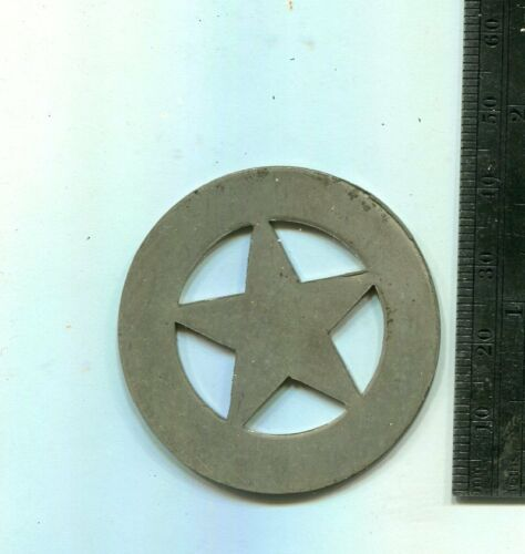 OLD NICKEL SILVER LAW ENFORCEMENT BADGE BLANK TEXAS CIRCLE STAR  STAR-IN-WHEEL