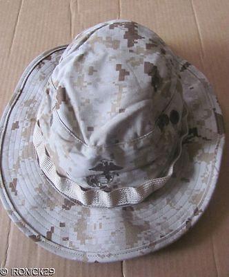 New USMC Camo Boonie Hat Cap Desert Digital Tan,EGA,Strap X-LARGE & FREE SHIP