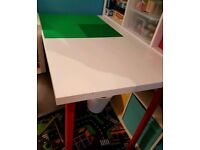 Ikea table with lego boards