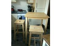IKEA BAR TABLE WITH TWO STOOLS