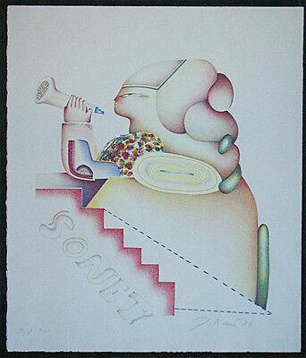 Jörg René, Original Lithographie 1979, signiert + numm., SONETT
