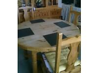 Solid pine circular dining table