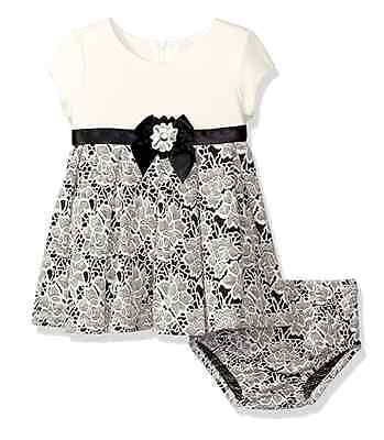Bonnie Jean Baby Girls Special Ocassion Party Black Ivory Dress 0 3 6 9 - Bonnie Jean Ivory Dress