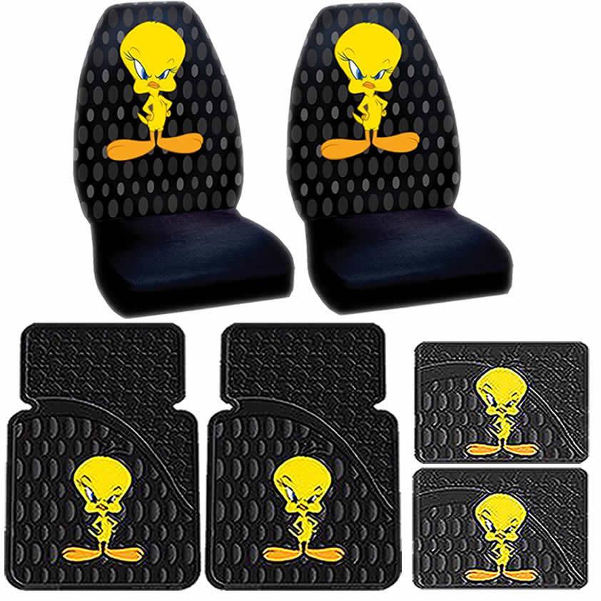 6PC TWEETY ATTITUDE CAR FLOOR MATS BUCKET SEAT COVERS