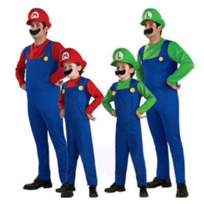 Mario and Luigi Costumes Kids Super Mario Bros/Brothers Halloween Fancy Dress - Brother And Brother Halloween Costumes